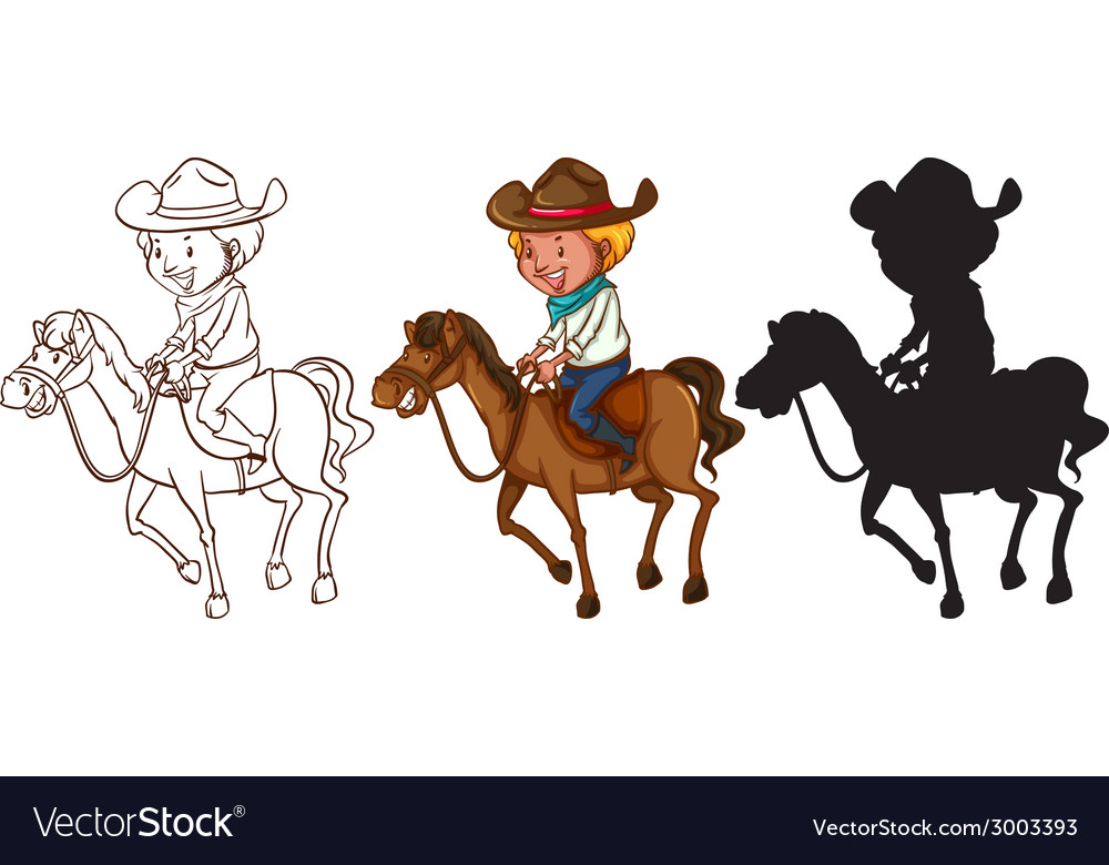 Sketches of a man riding a horse vector | Price: 1 Credit (USD $1)