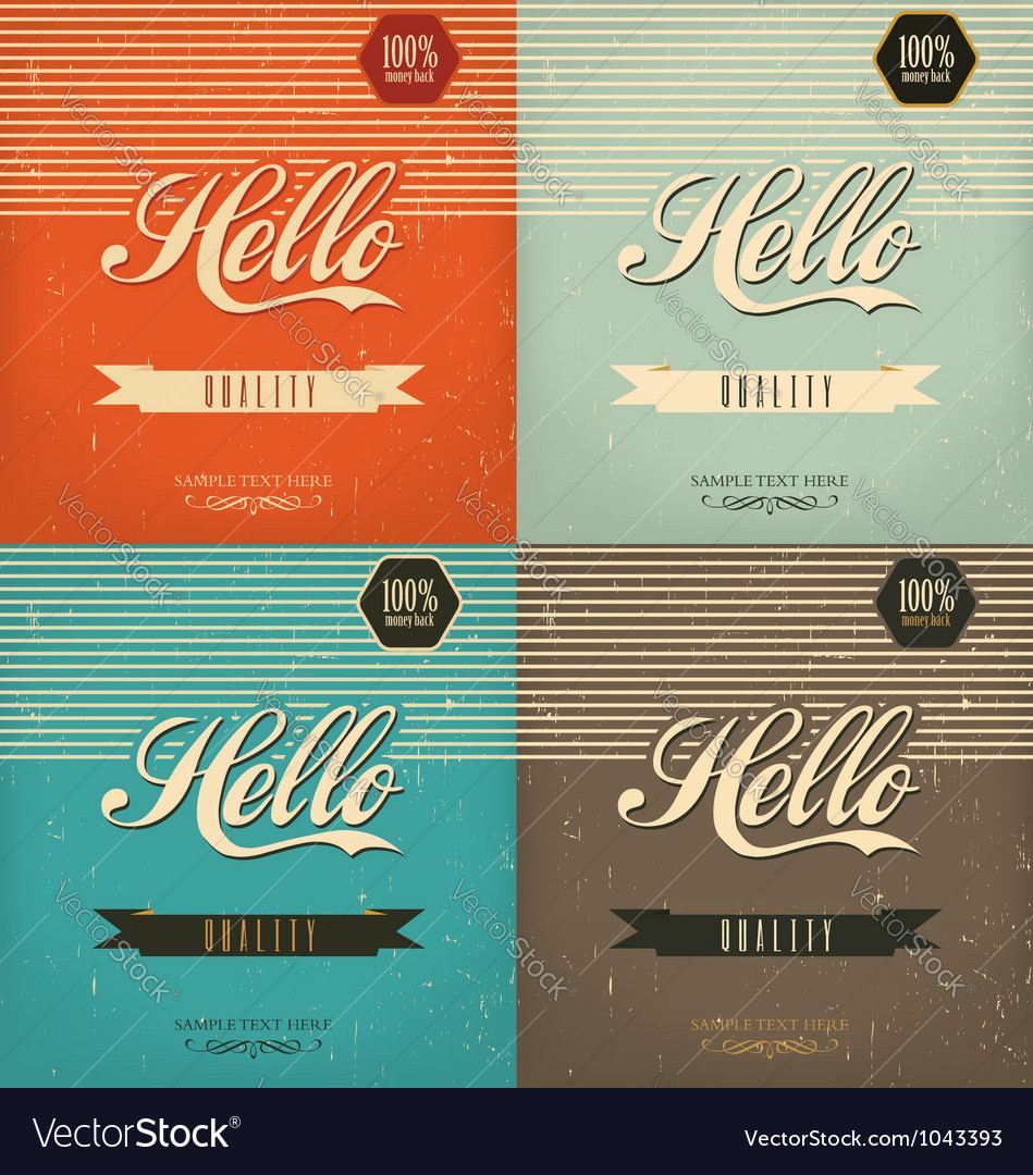 Vintage design set vector | Price: 1 Credit (USD $1)