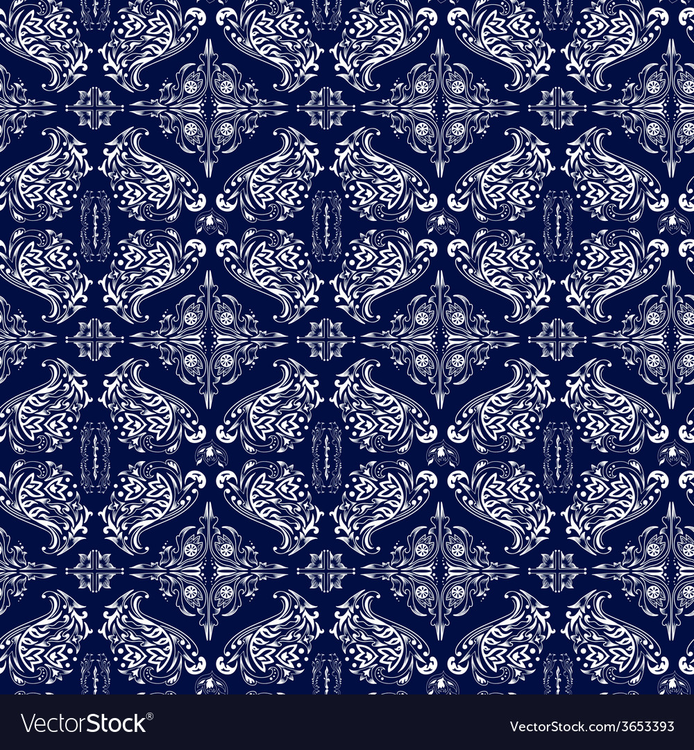 White and blue luxury damask pattern vector | Price: 1 Credit (USD $1)