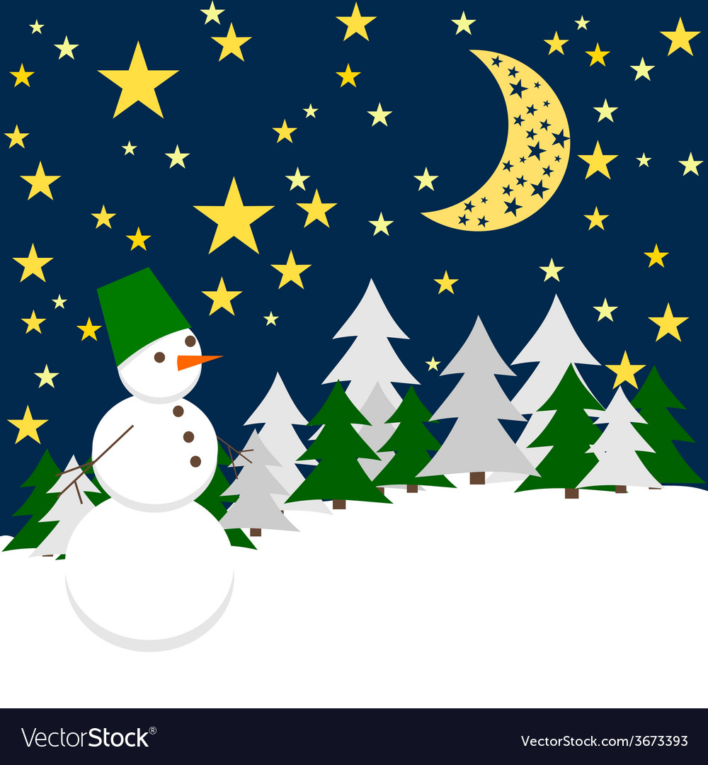 Winter night forest landscape with snowman holiday vector | Price: 1 Credit (USD $1)