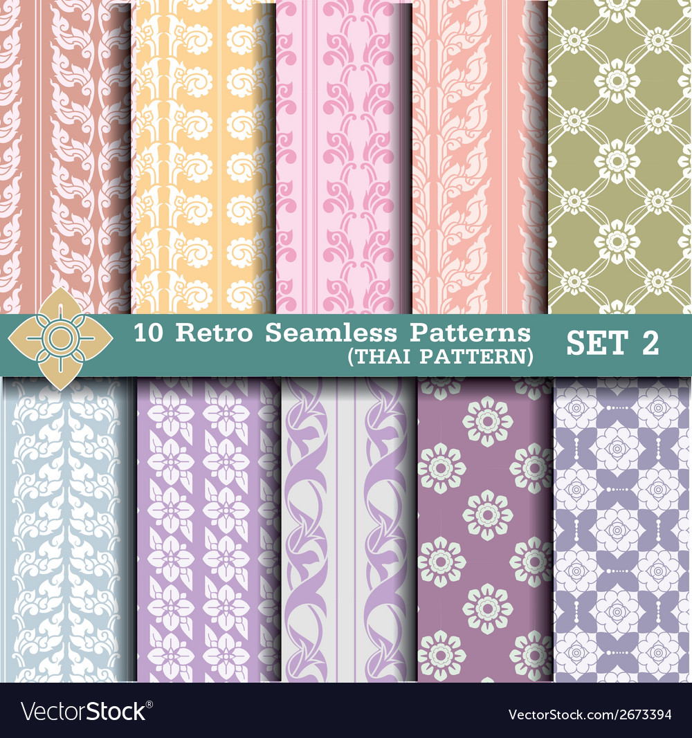 10 retro seamless patterns set 2 vector | Price: 1 Credit (USD $1)