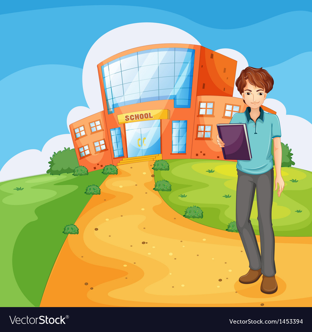 A boy holding a book standing outside the school vector | Price: 1 Credit (USD $1)