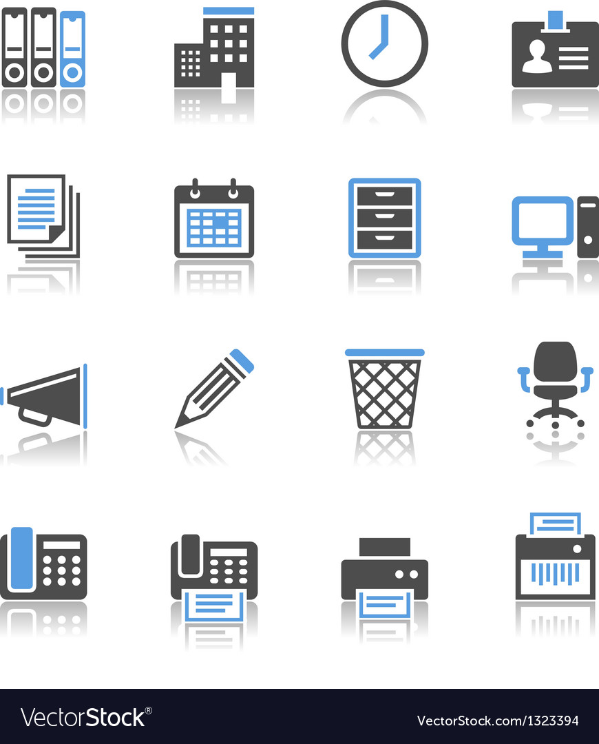 Business and office icons reflection vector | Price: 1 Credit (USD $1)