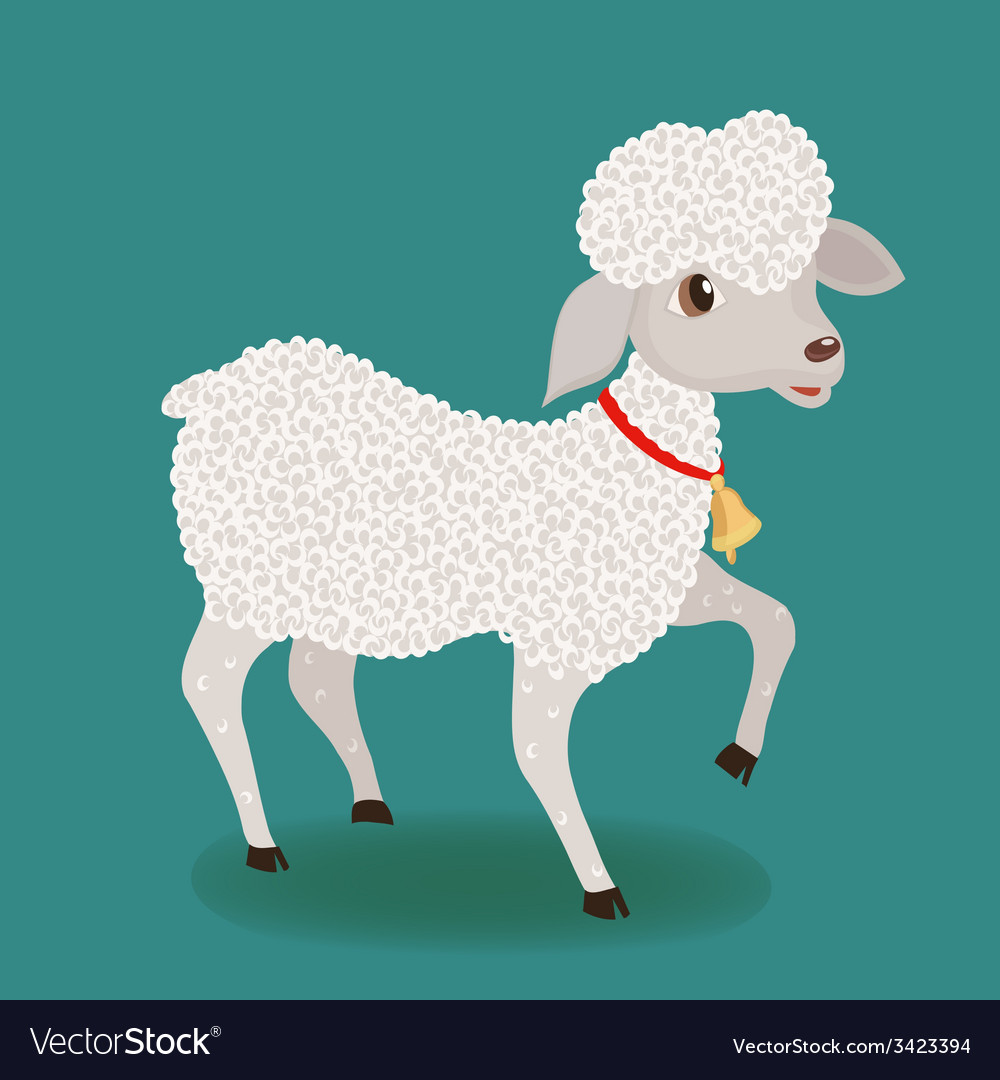 Cute lamb with bell vector | Price: 1 Credit (USD $1)