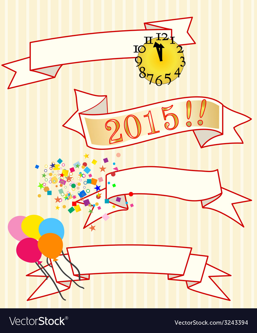 Four new year ribbons vector | Price: 1 Credit (USD $1)
