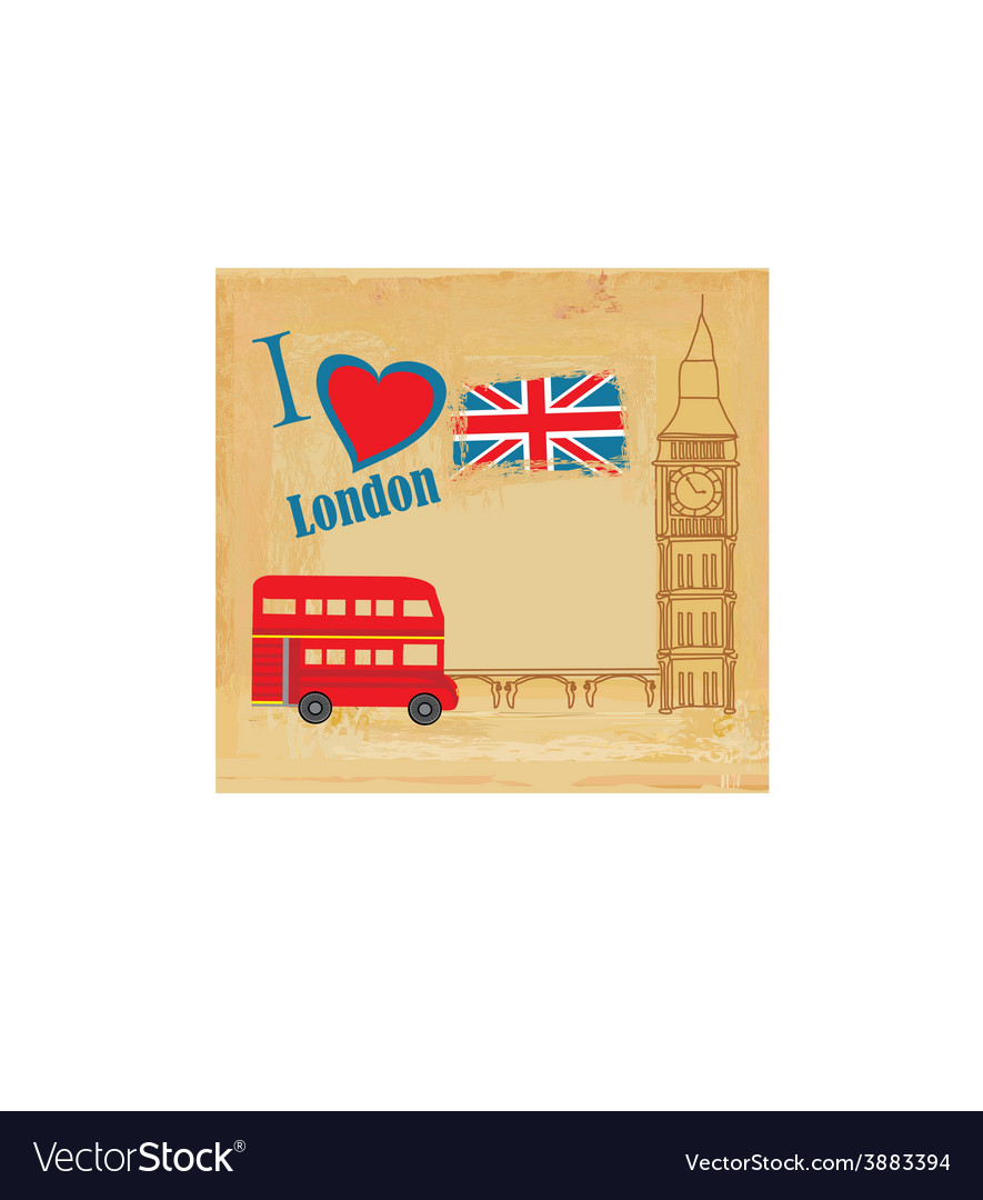 Grunge card with icons of london vector | Price: 1 Credit (USD $1)