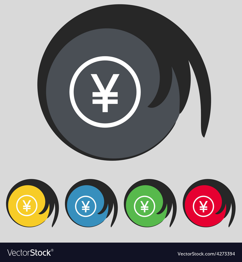 Japanese yuan icon sign symbol on five colored vector | Price: 1 Credit (USD $1)