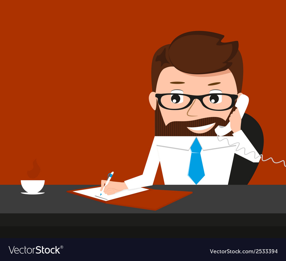 Lucky businessman is signing contract and talking vector | Price: 1 Credit (USD $1)