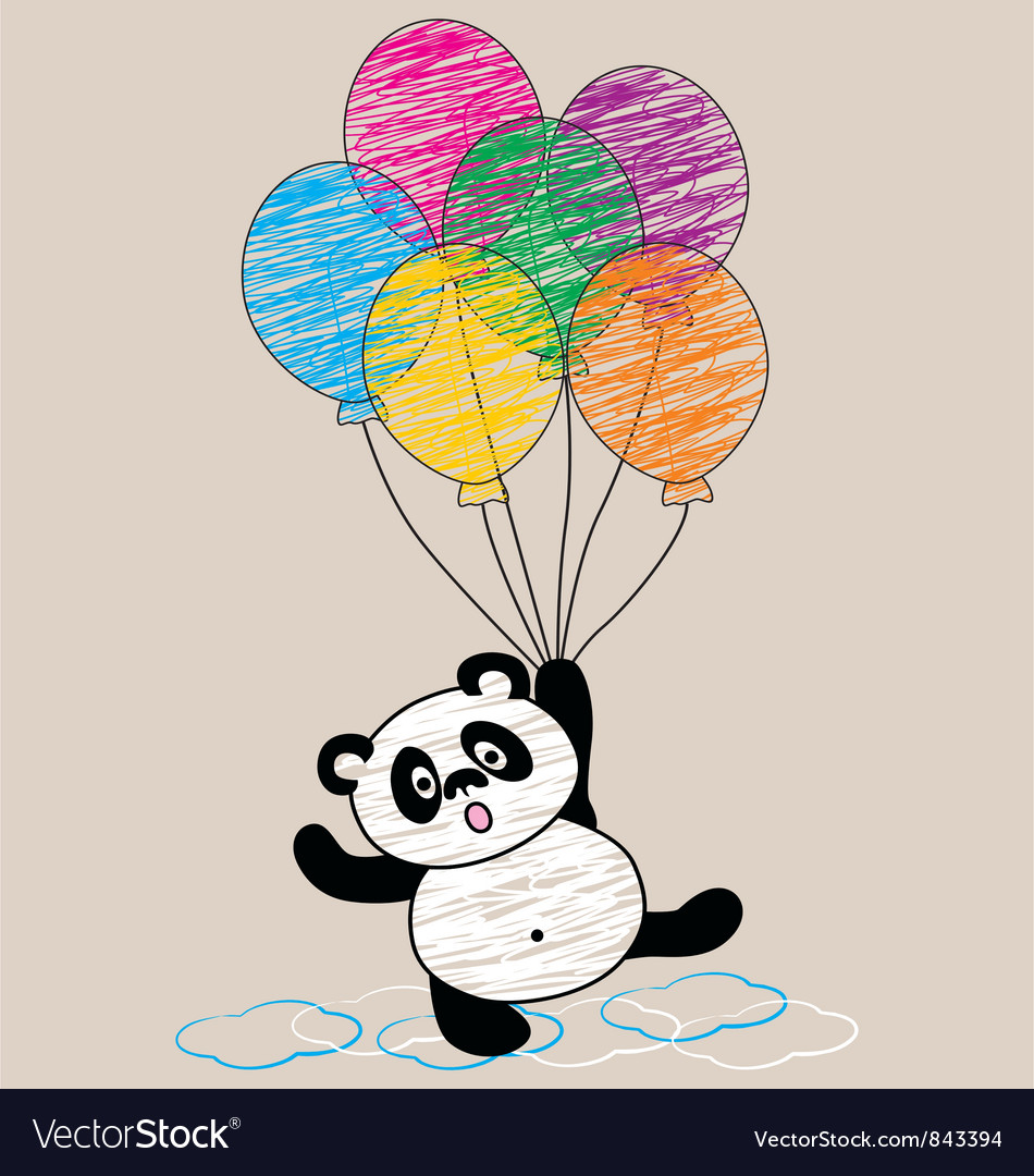 Panda and balloon vector | Price: 1 Credit (USD $1)
