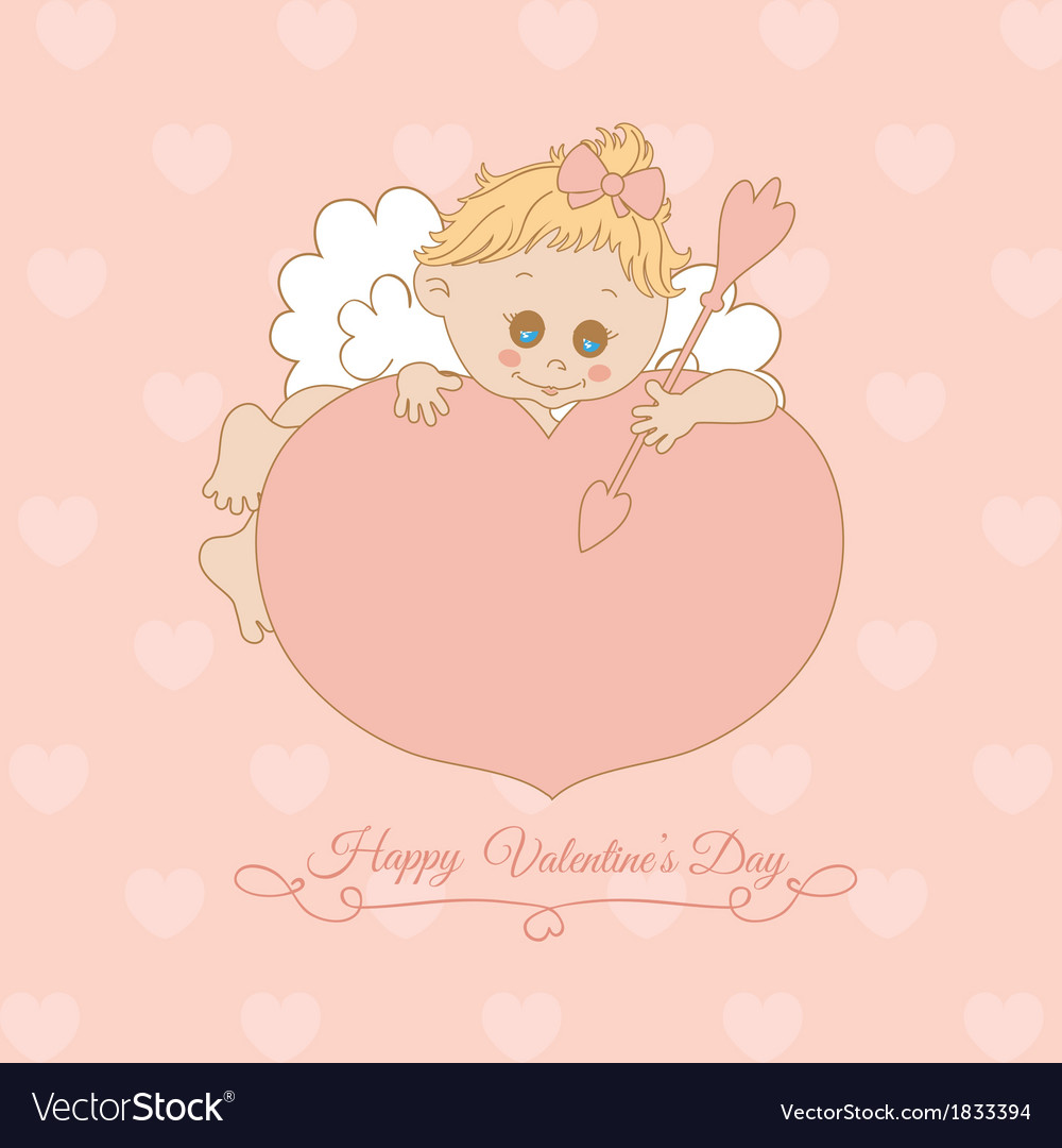 Pink card with valentines day with cupid vector | Price: 1 Credit (USD $1)