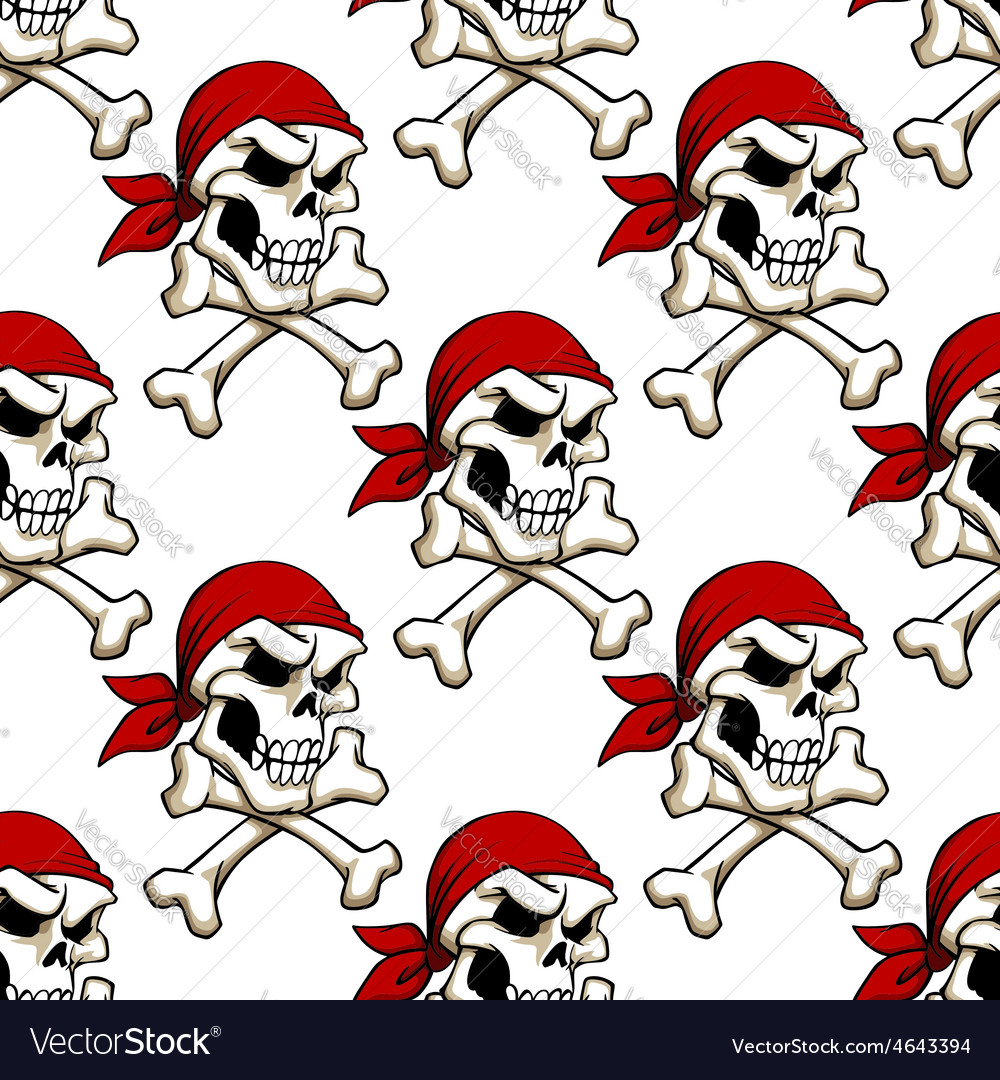 Pirate skull with crossbones seamless pattern vector | Price: 1 Credit (USD $1)