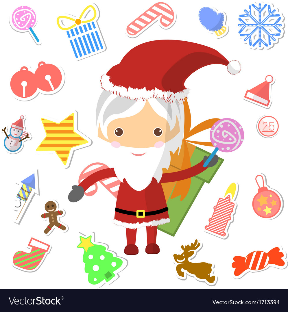 Retro style christmas card with santa claus vector   Price: 1 Credit (USD $1)