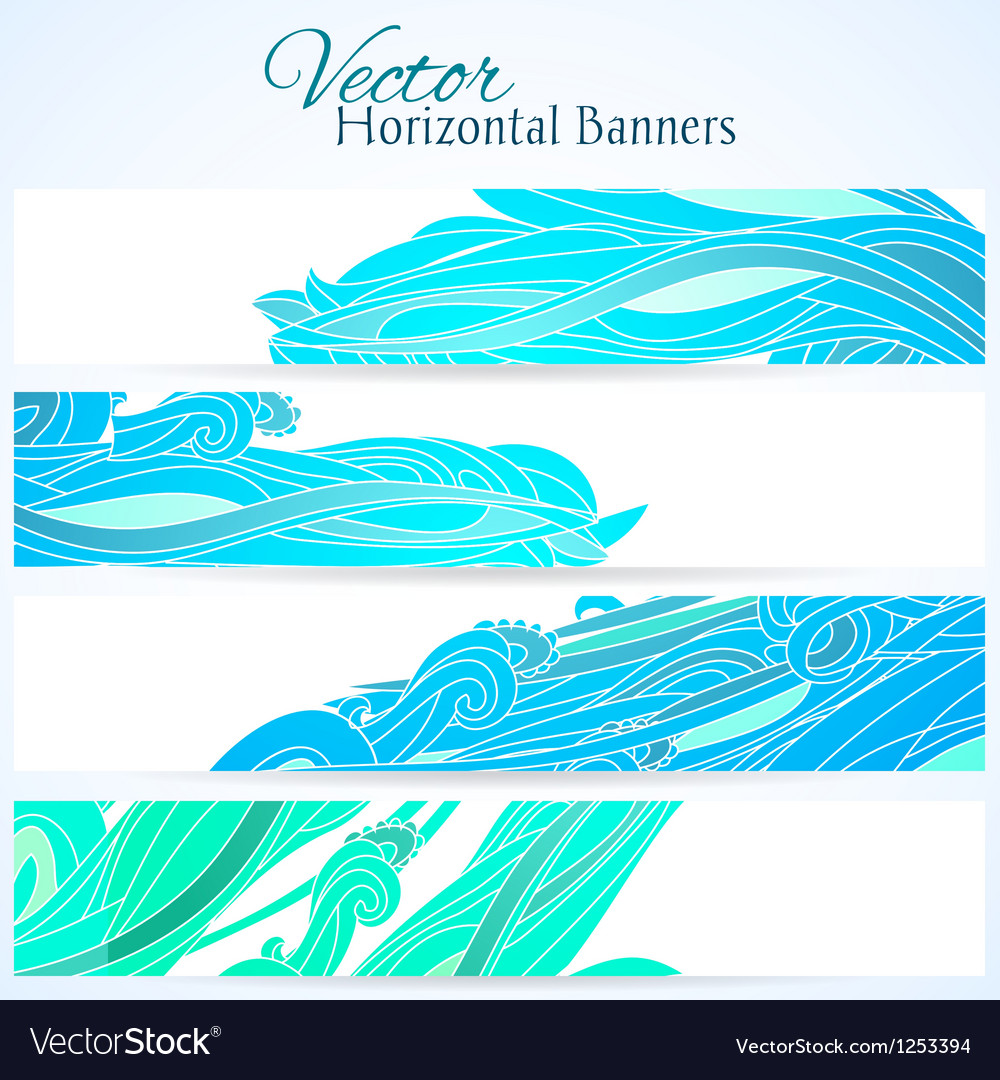 Set of three banners with water hand drawn waves vector | Price: 1 Credit (USD $1)