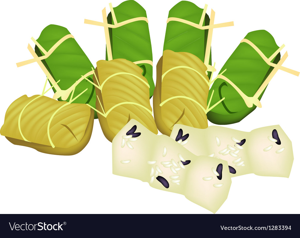 Steamed sticky rice with banana vector | Price: 1 Credit (USD $1)
