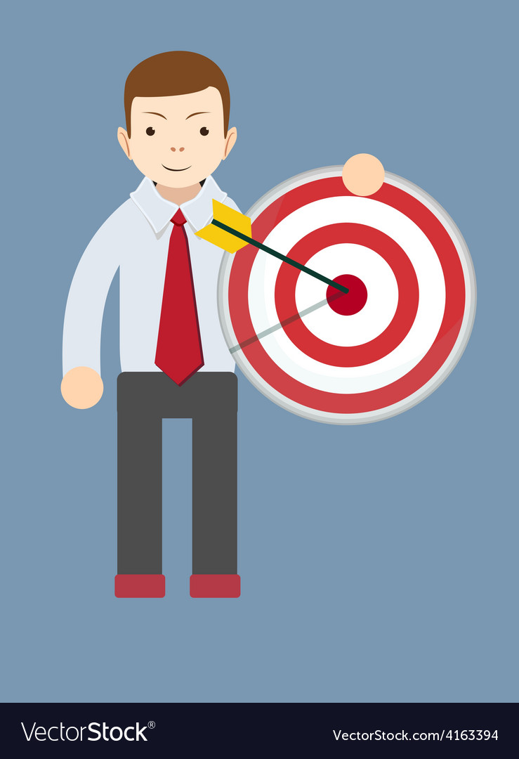 Successful man or teacher holding a target with vector | Price: 1 Credit (USD $1)