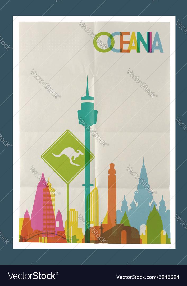 Travel oceania landmarks skyline vintage poster vector | Price: 1 Credit (USD $1)