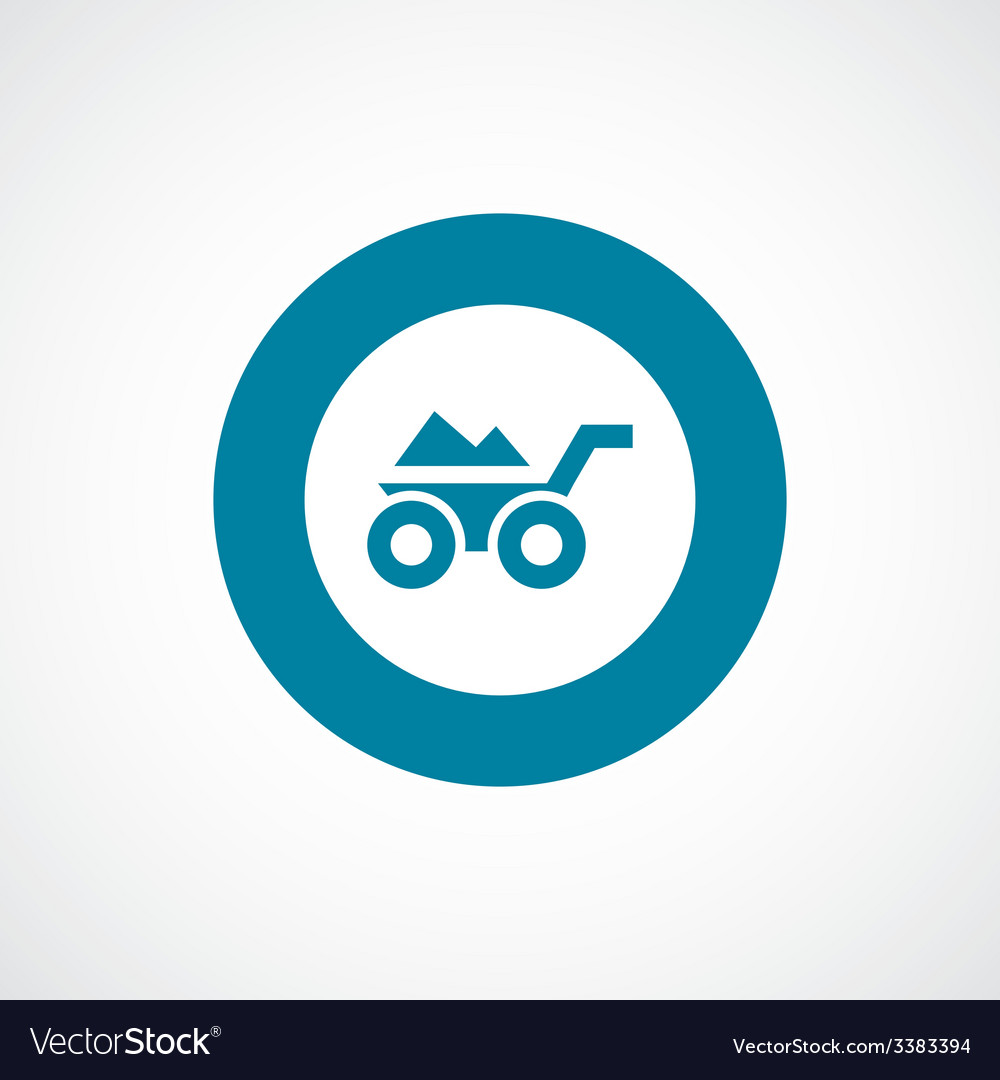Wheelbarrow bold blue border circle icon vector | Price: 1 Credit (USD $1)