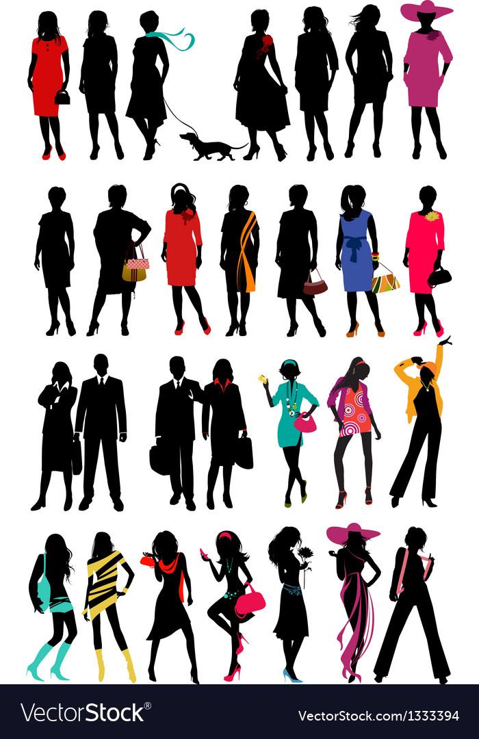 Women fashion silhouette vector | Price: 1 Credit (USD $1)