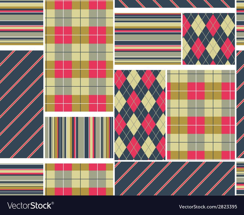 Big plaid pattern set vector | Price: 1 Credit (USD $1)