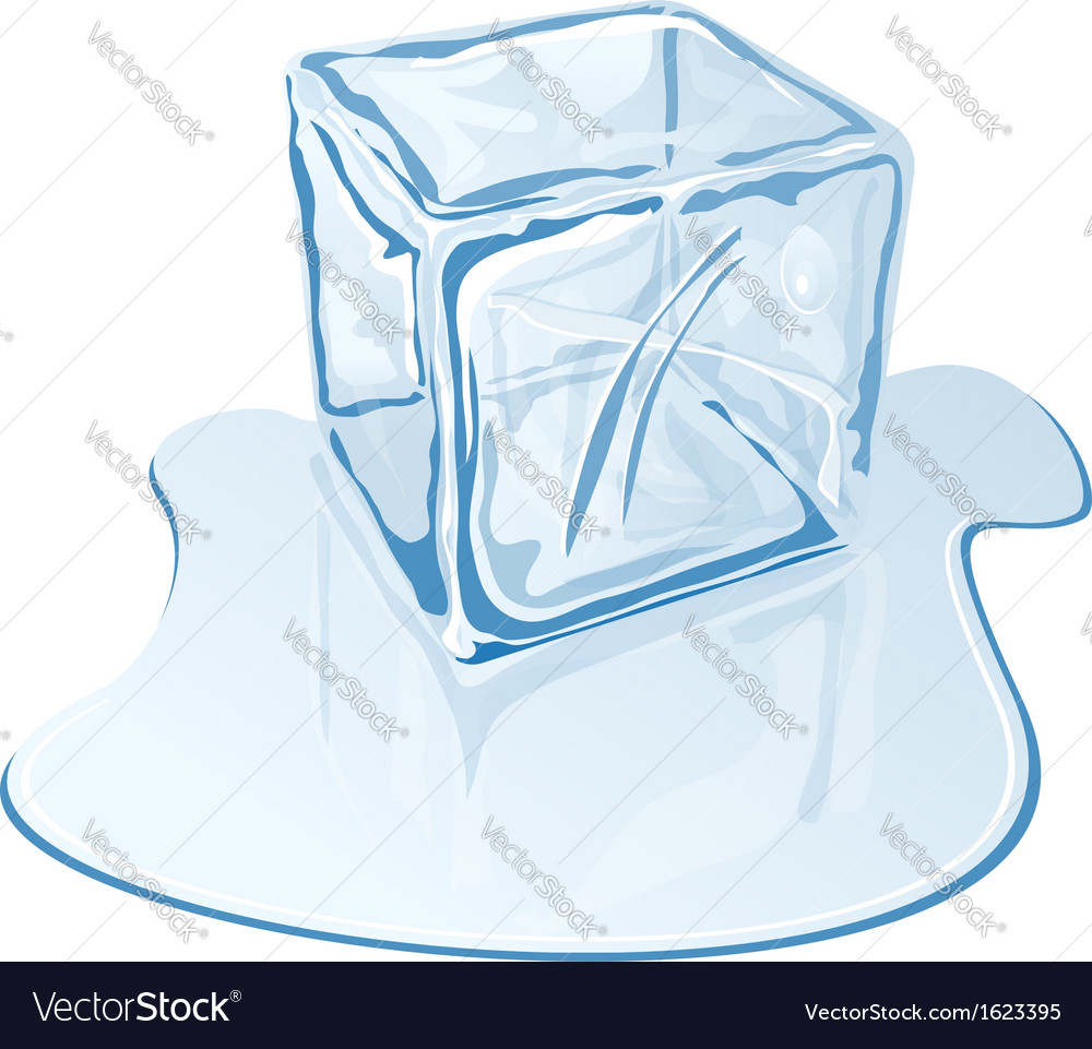 Blue half-melted ice cube vector | Price: 1 Credit (USD $1)