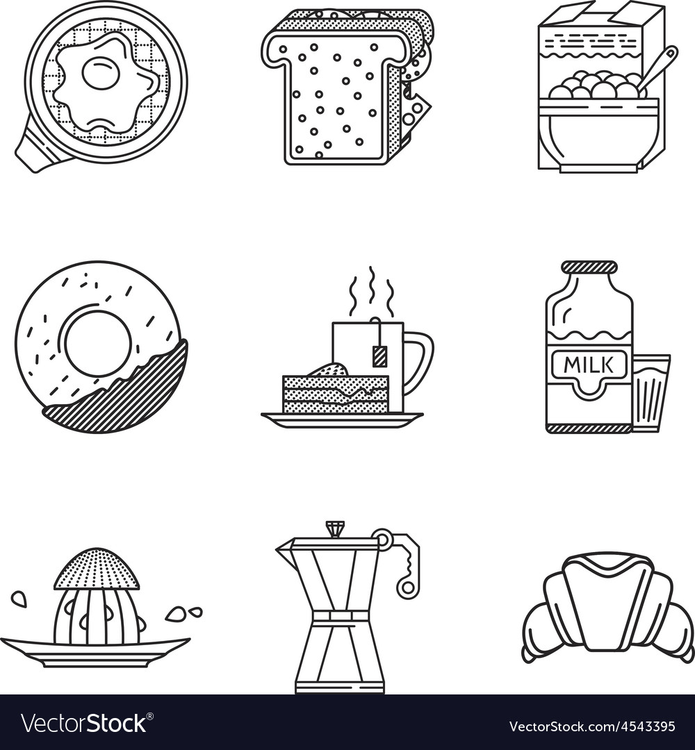 Breakfast black line icons collection vector | Price: 1 Credit (USD $1)