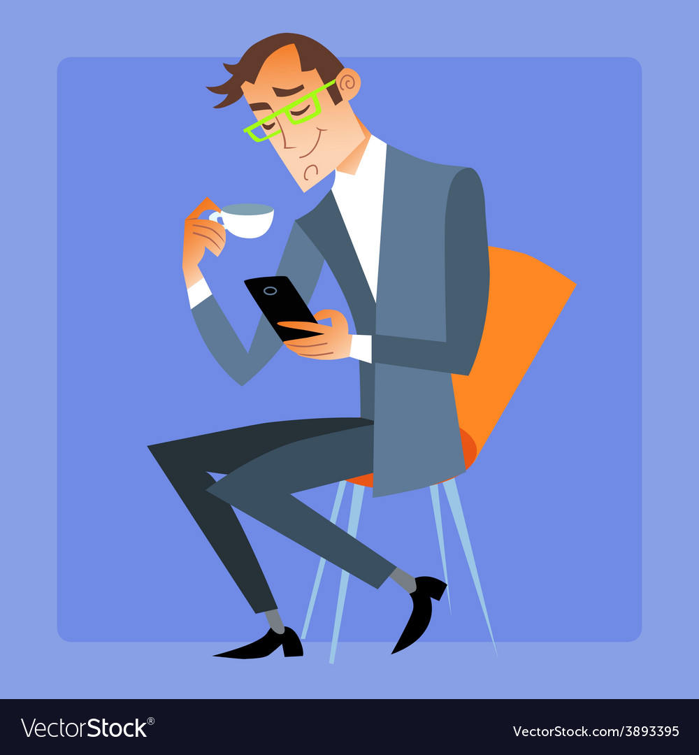 Businessman at seagull tea or coffee reads the vector | Price: 1 Credit (USD $1)