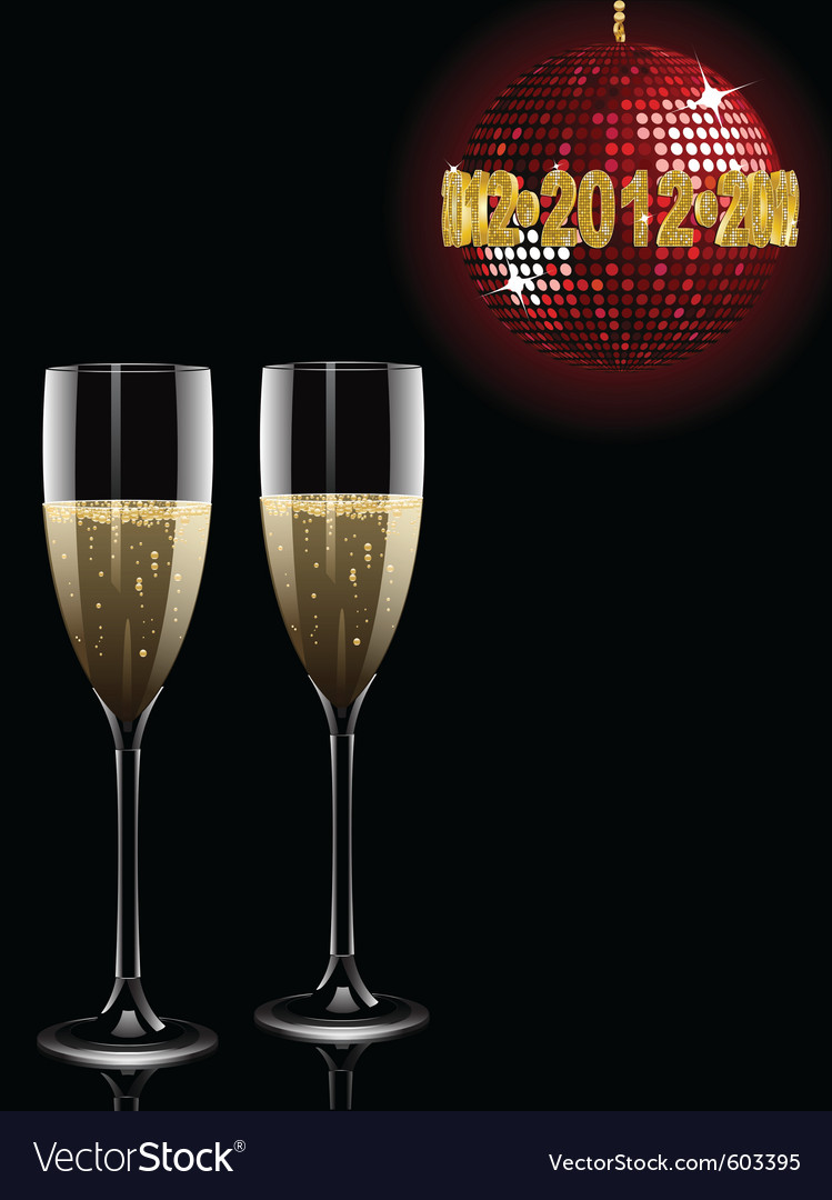 Champagne filled flutes under a sparkling red disc vector | Price: 1 Credit (USD $1)