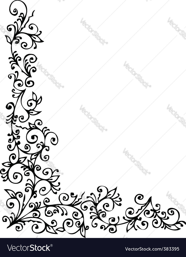 Floral vignette vector | Price: 1 Credit (USD $1)