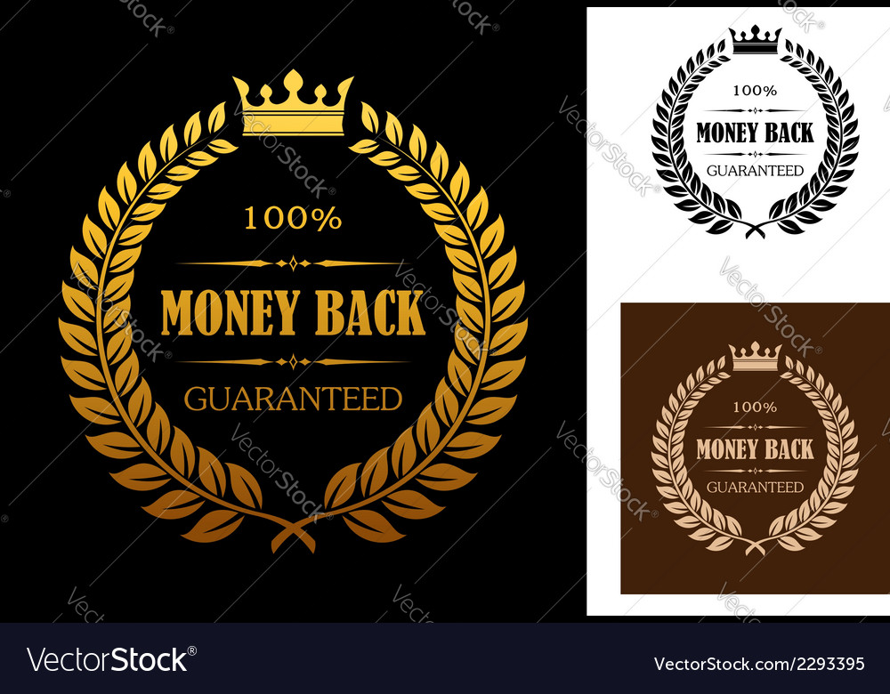 Golden money back guarantee labels vector | Price: 1 Credit (USD $1)