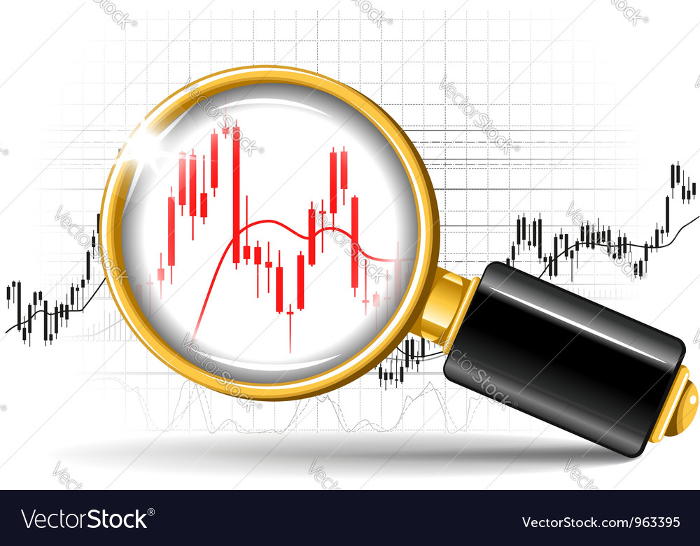 Magnifier and stock chart vector | Price: 1 Credit (USD $1)
