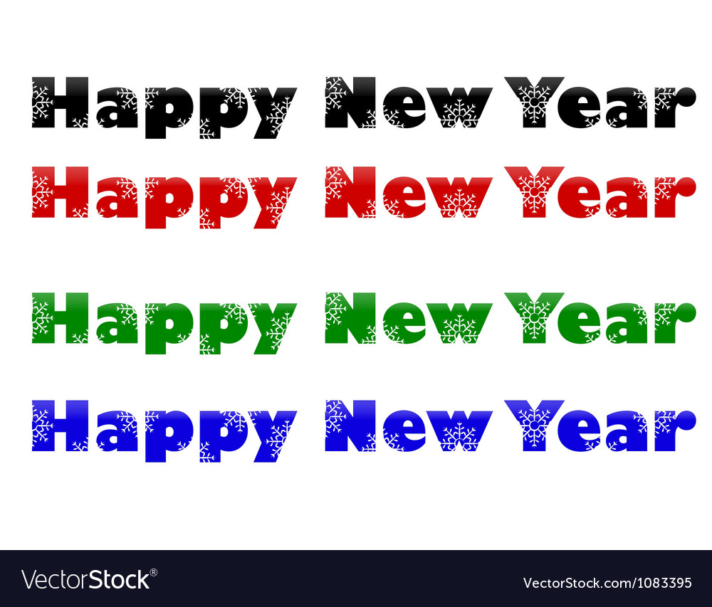 Set phrase happy new year vector | Price: 1 Credit (USD $1)