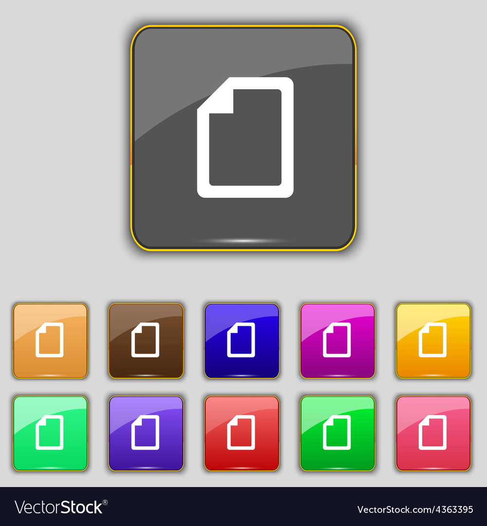 Text file icon sign set with eleven colored vector | Price: 1 Credit (USD $1)