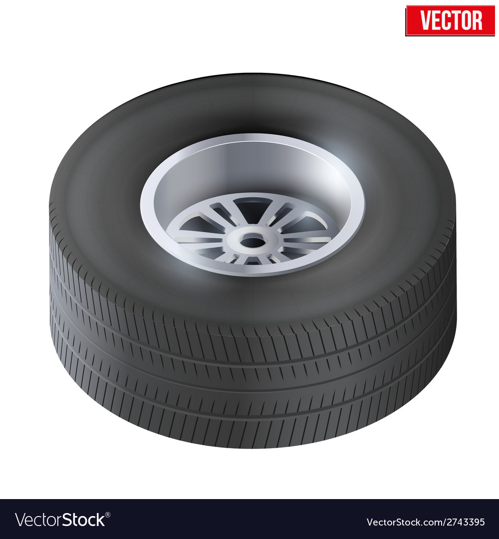 Tire and wheel of car top view vector | Price: 1 Credit (USD $1)