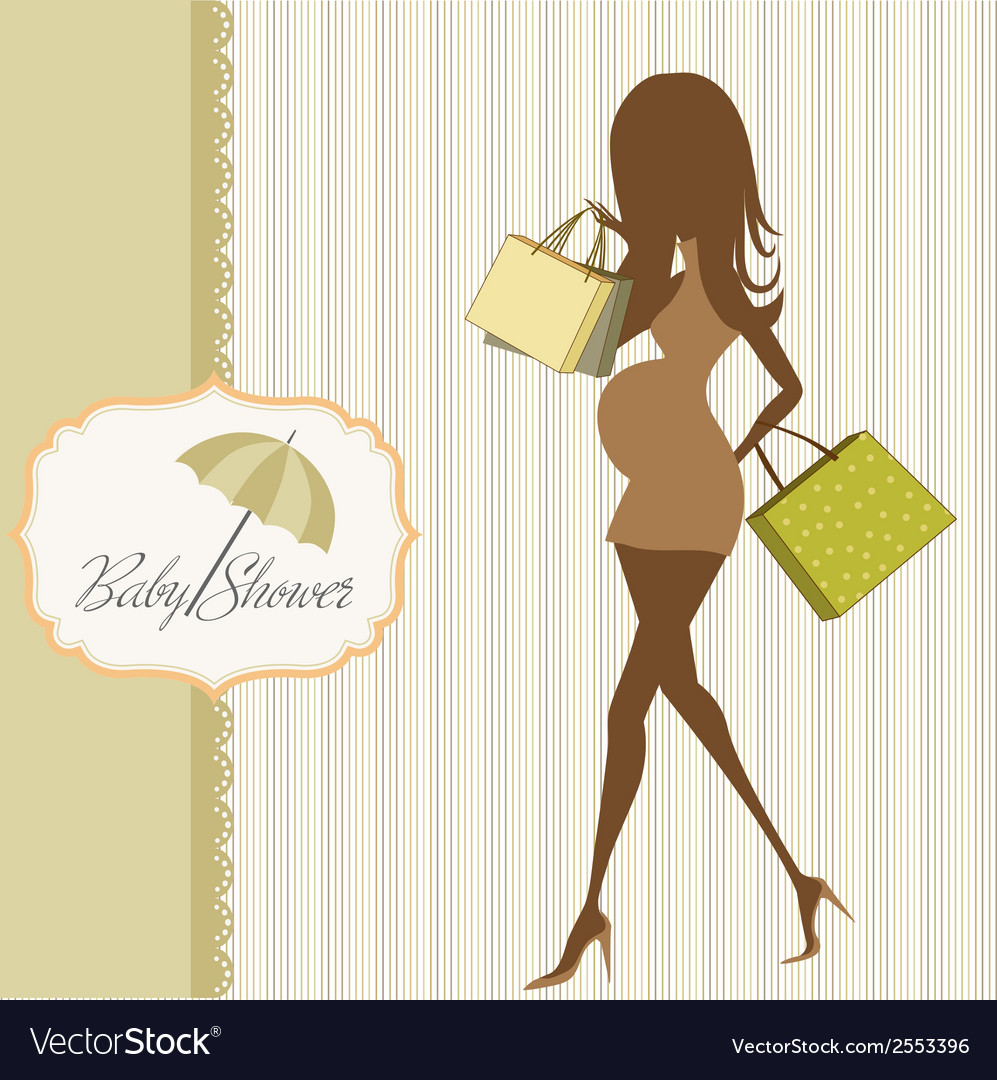 Baby announcement card with beautiful pregnant vector | Price: 1 Credit (USD $1)