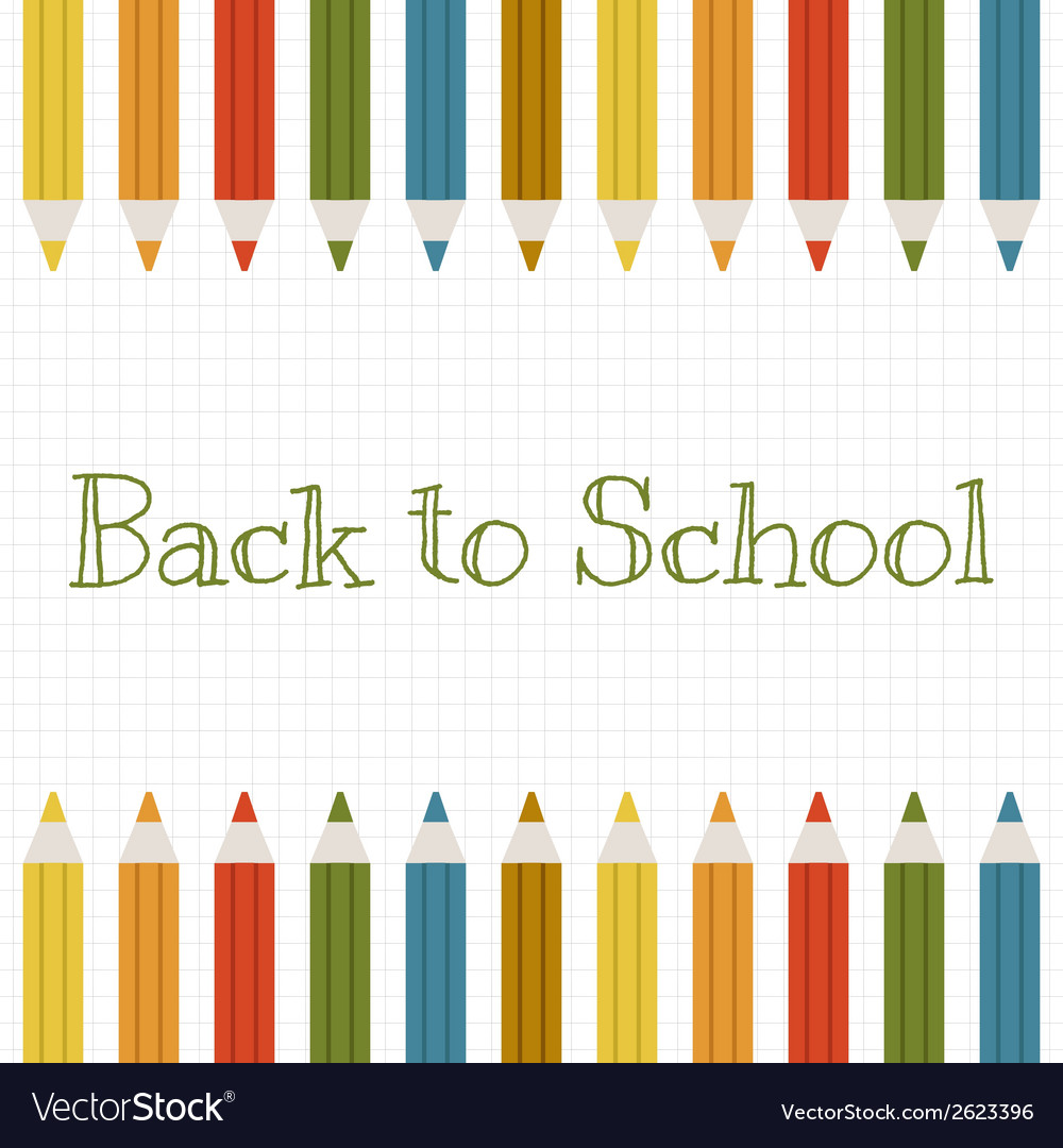 Back to school background with color pencils vector | Price: 1 Credit (USD $1)