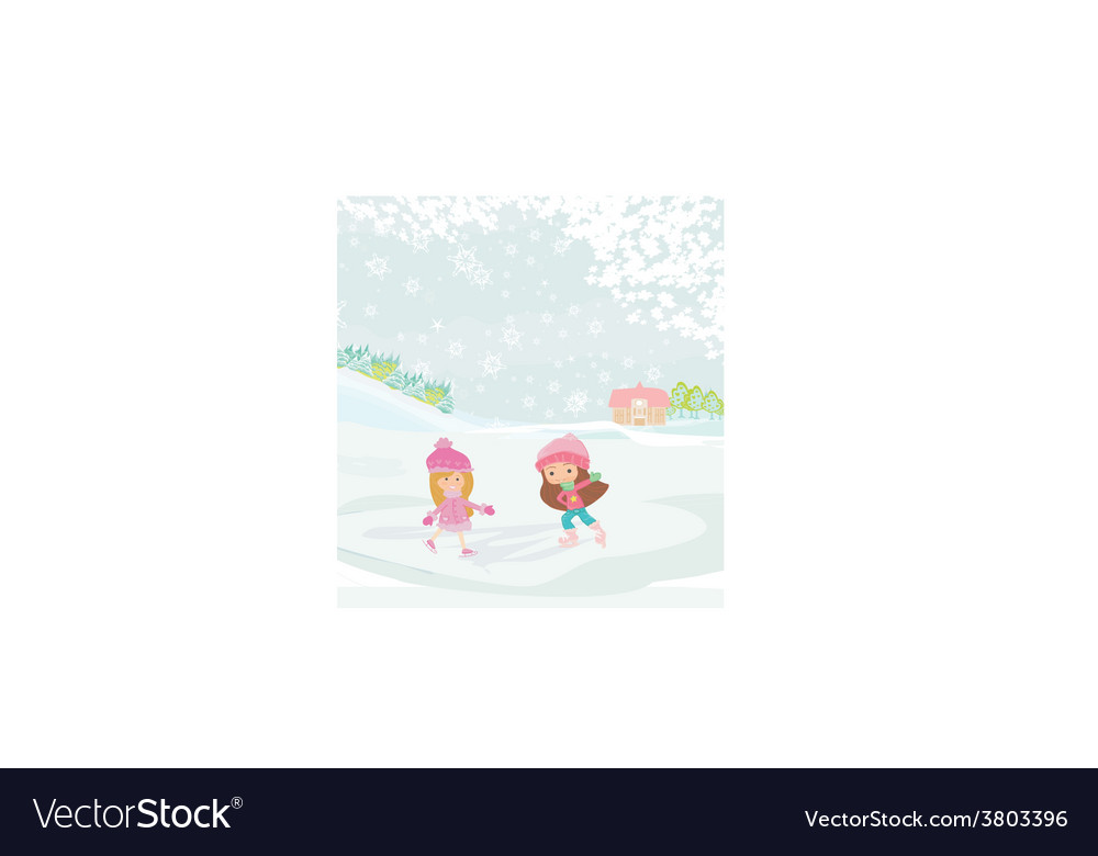 Girls on skates vector | Price: 1 Credit (USD $1)