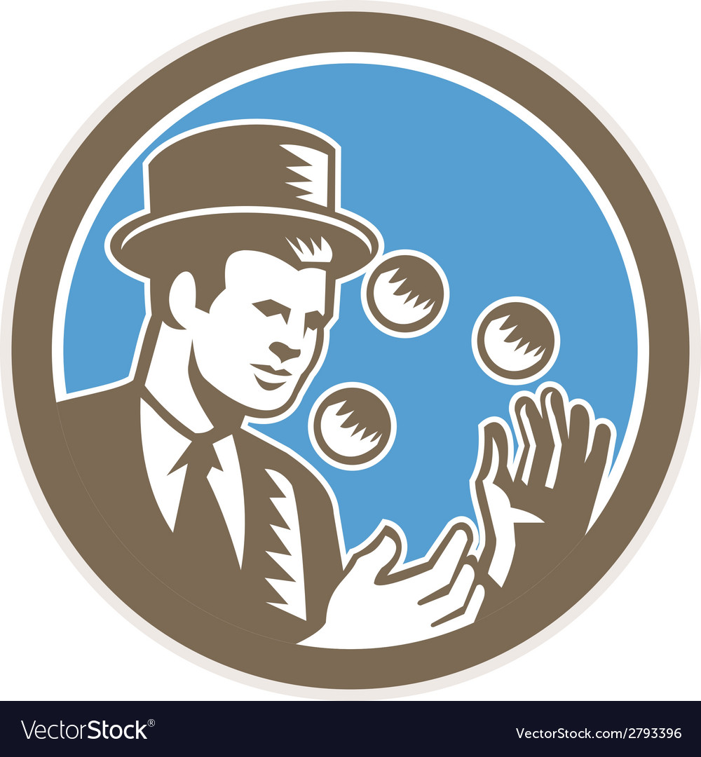 Juggler juggling balls circle woodcut vector | Price: 1 Credit (USD $1)