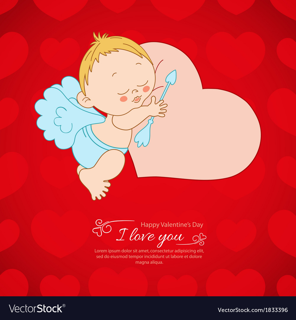 Postcard valentines day with cupid background vector | Price: 1 Credit (USD $1)