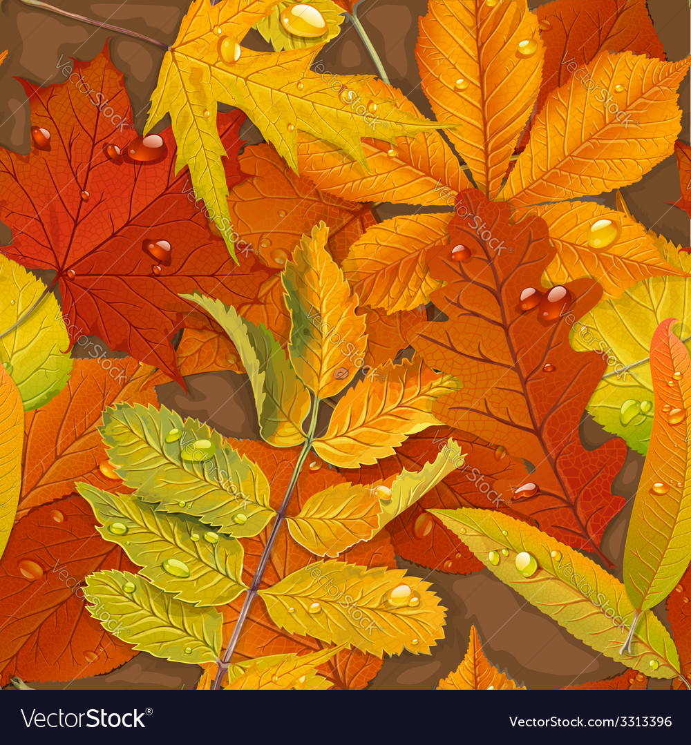 Seamless pattern from autumn leaves on the ground vector   Price: 3 Credit (USD $3)