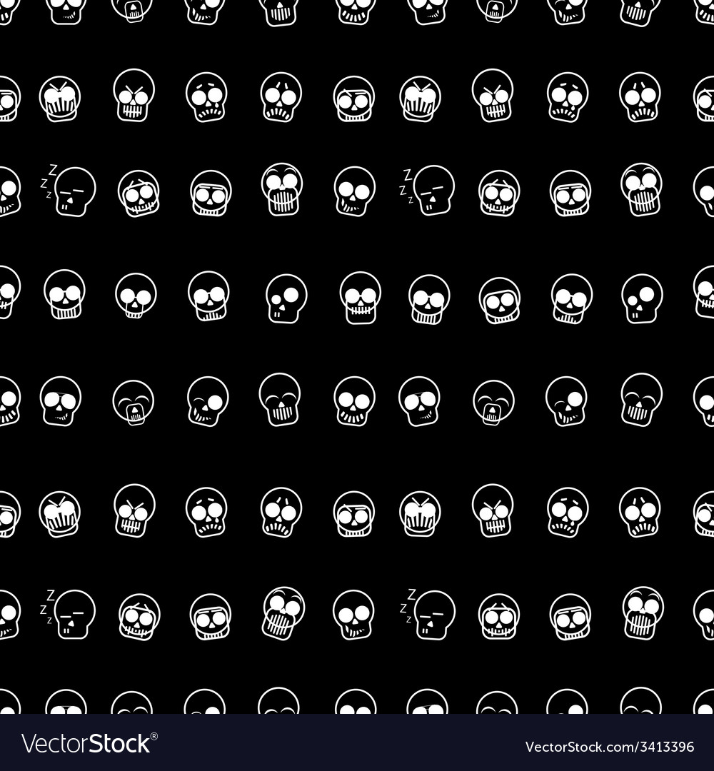 Set of icons skull  seamless pattern vector | Price: 1 Credit (USD $1)