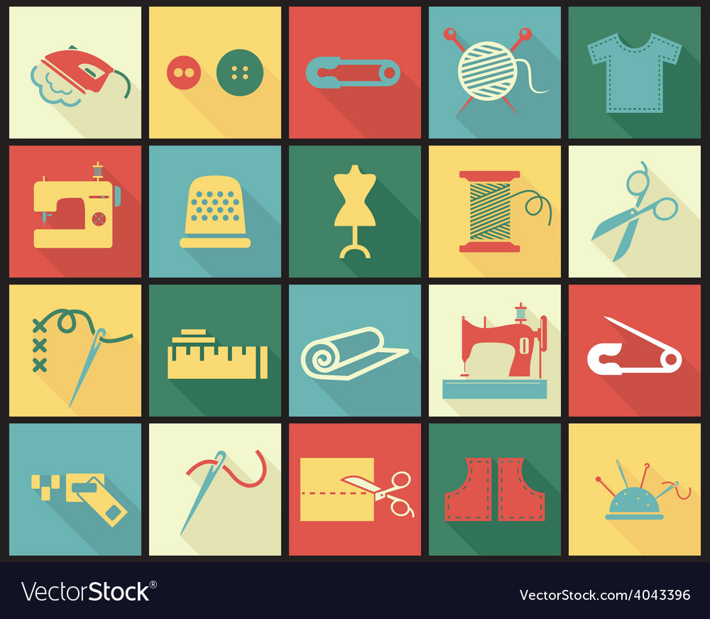 Sewing equipment icons set with thimble needle vector | Price: 1 Credit (USD $1)