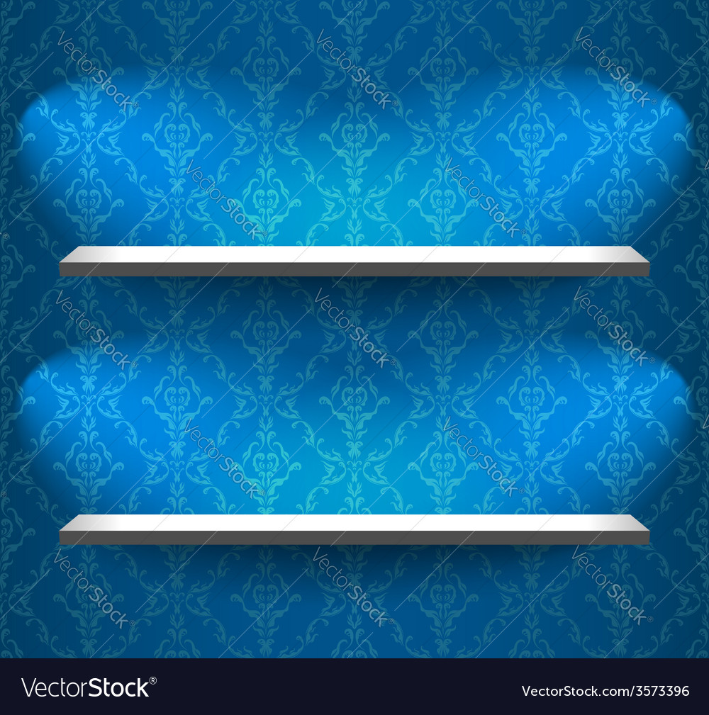 Shelves on the blue wall vector | Price: 1 Credit (USD $1)