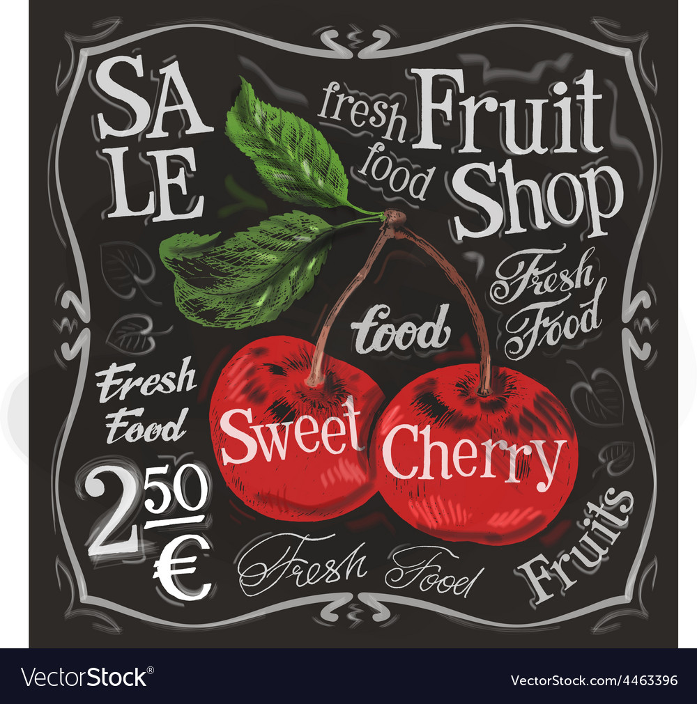 Sweet cherry logo design template fresh vector | Price: 3 Credit (USD $3)