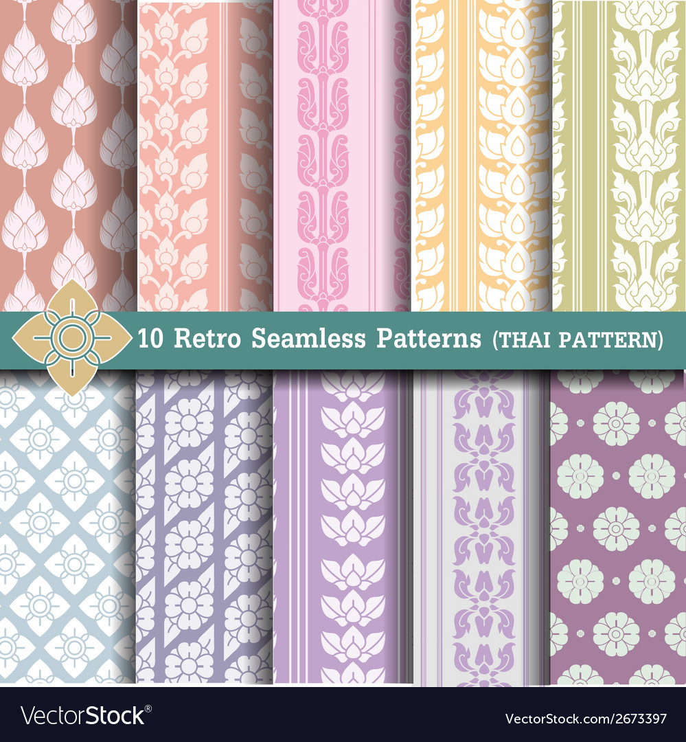 10 retro seamless patterns vector | Price: 1 Credit (USD $1)