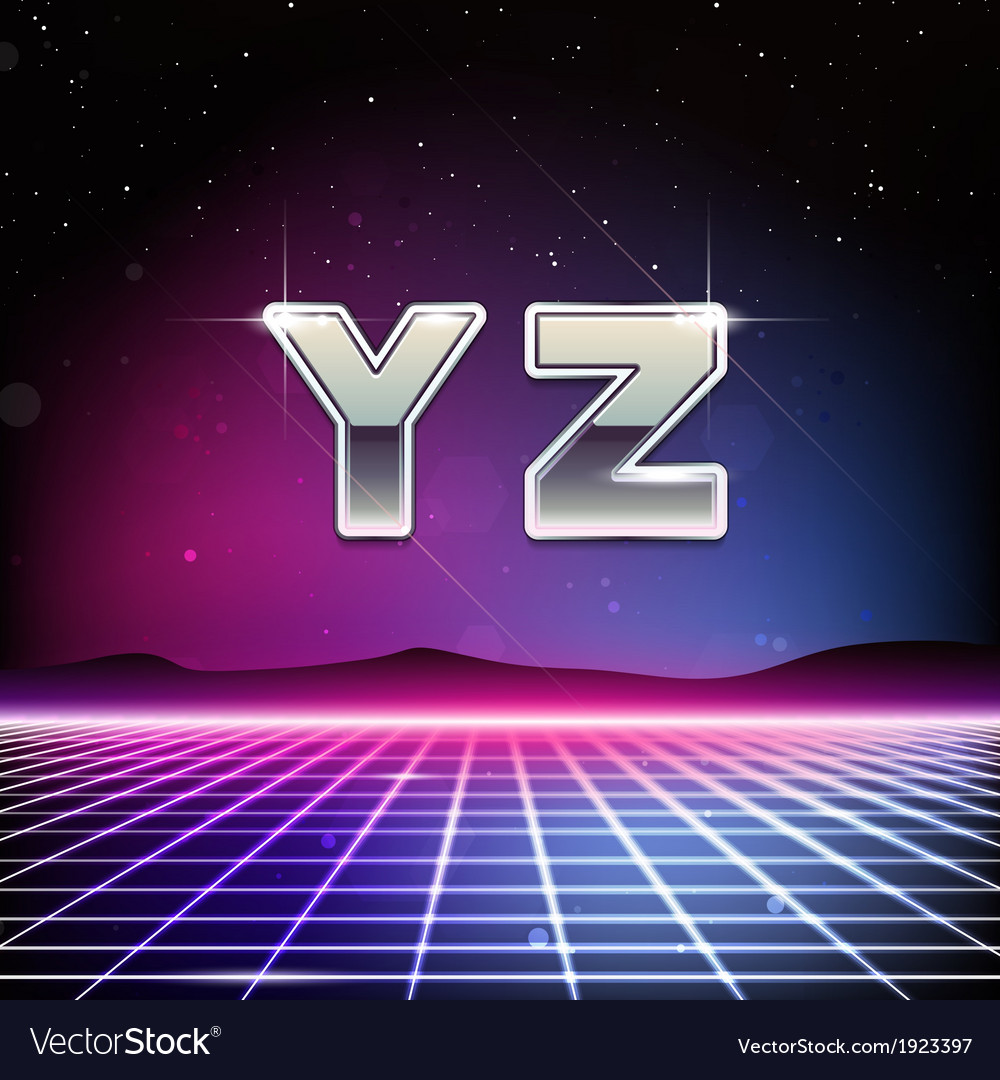 80s retro sci-fi font from y to z vector | Price: 1 Credit (USD $1)