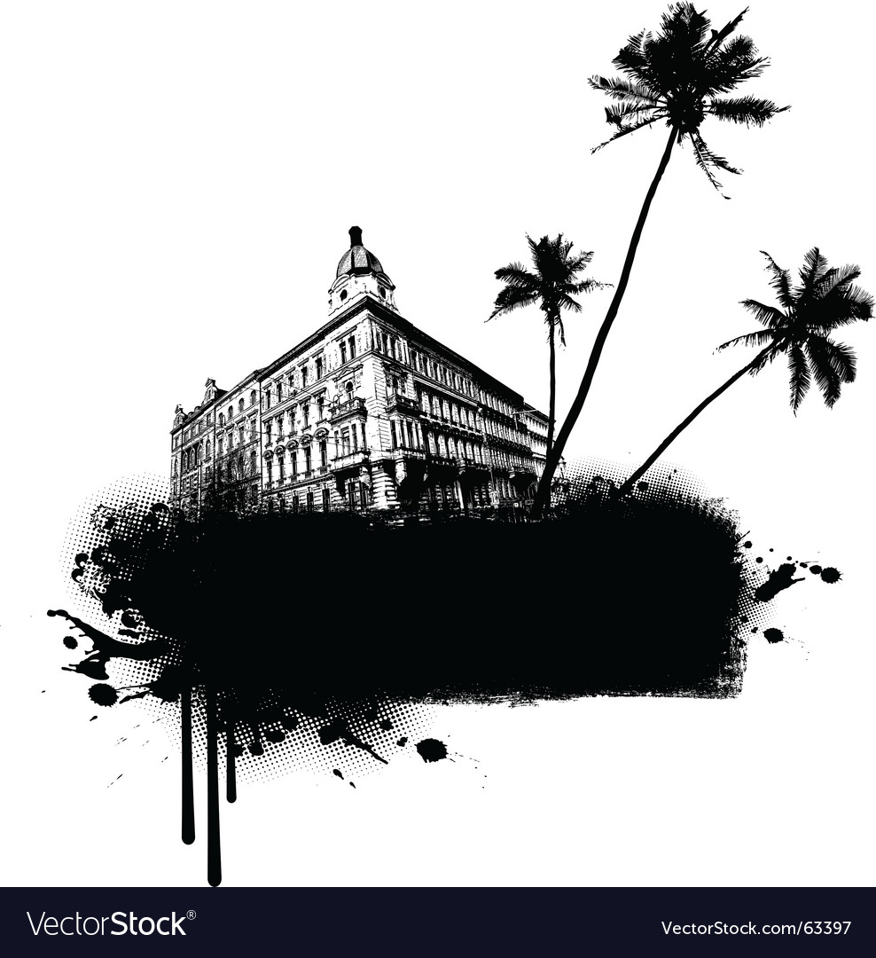 Building with palms vector | Price: 1 Credit (USD $1)
