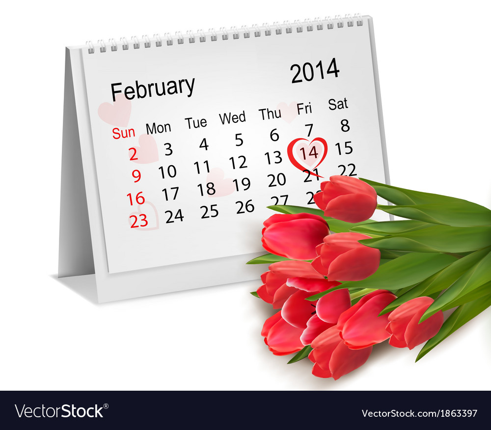 Calendar with hand written red heart february 14 vector | Price: 1 Credit (USD $1)