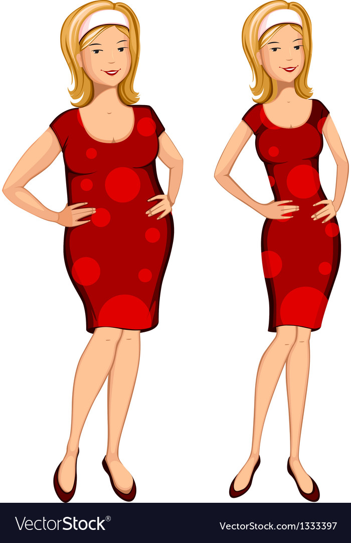 Fat and thin woman vector | Price: 3 Credit (USD $3)