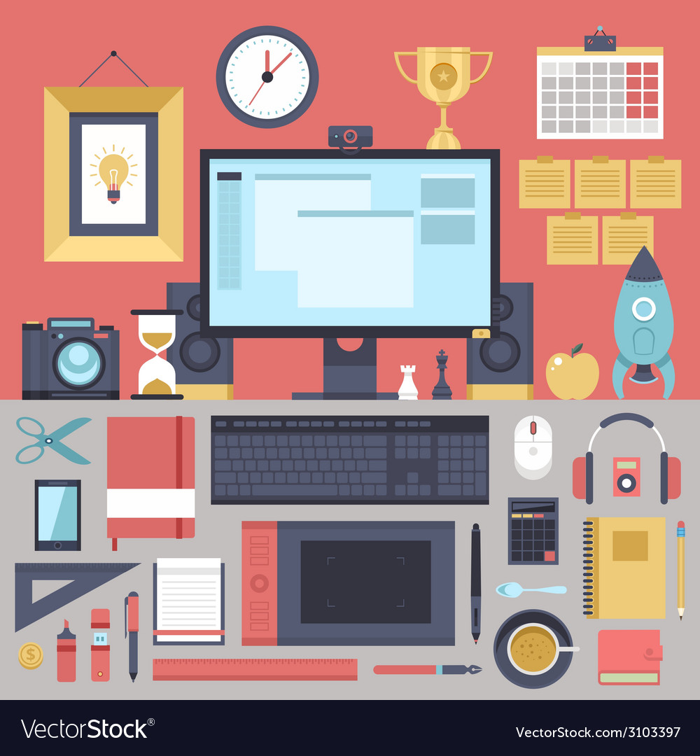 Flat modern design concept of creative office vector | Price: 1 Credit (USD $1)