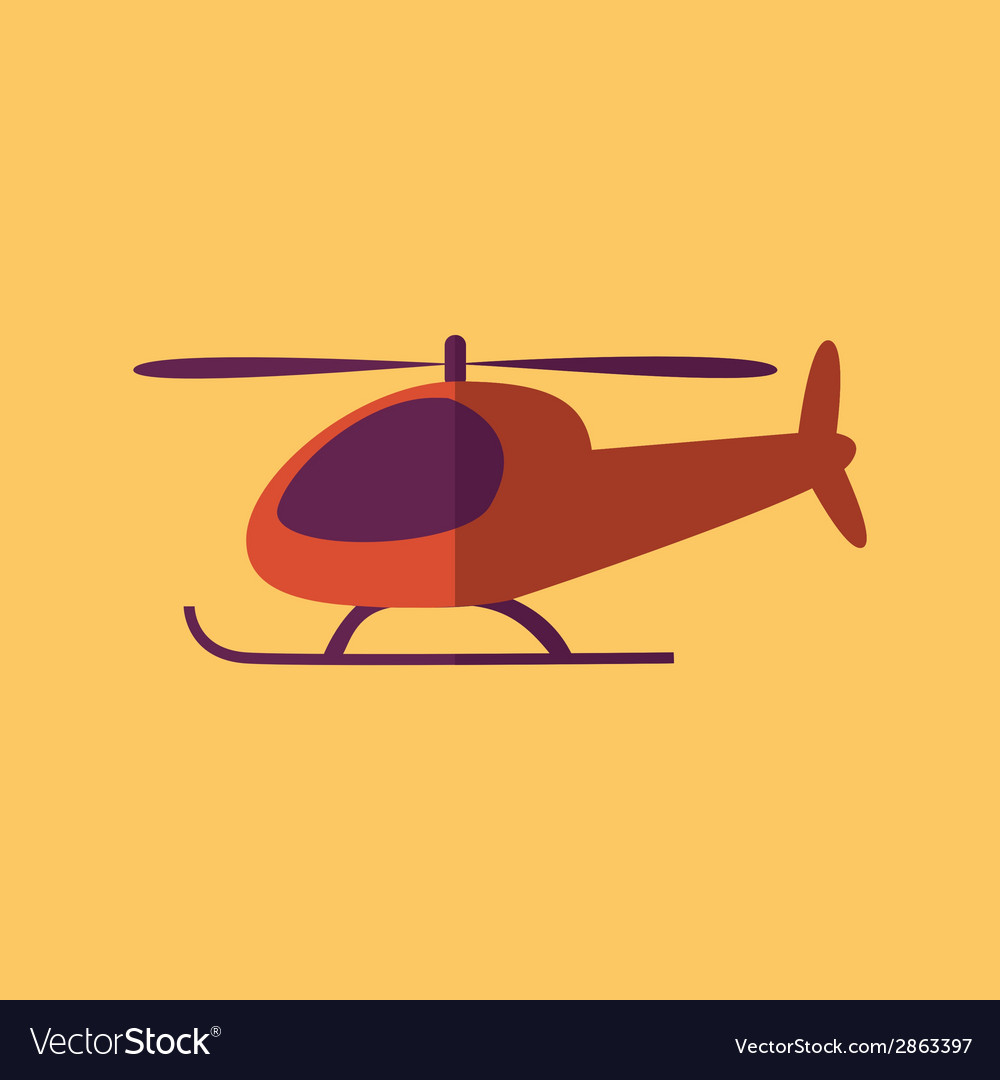 Helicopter transportation flat icon vector